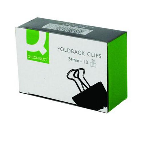 Q-Connect Foldback Clip 24mm Black (Pack of 10) KF01283
