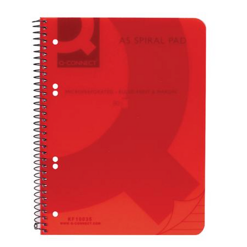 Q-Connect Spiral Bound Polypropylene Notebook 160 Pages - A5 Red (Pack of 5) KF1