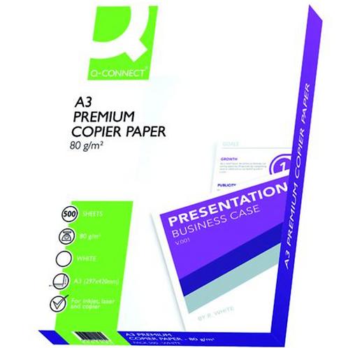 Q-Connect Premium Copier/Laser A3 Paper 80gsm White Ream - (Pack of 500) KF01425