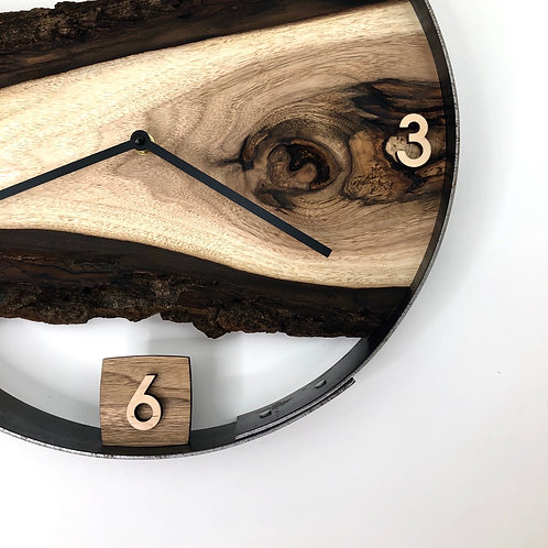 "14"" Butternut Live Edge Wood Wall Clock"