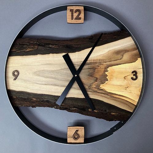 """21"""" Black Walnut Live Edge Wood Wall Clock"""