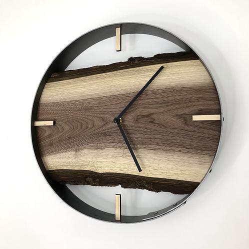"14"" Black Walnut Live Edge Wood Clock ft. Bars"