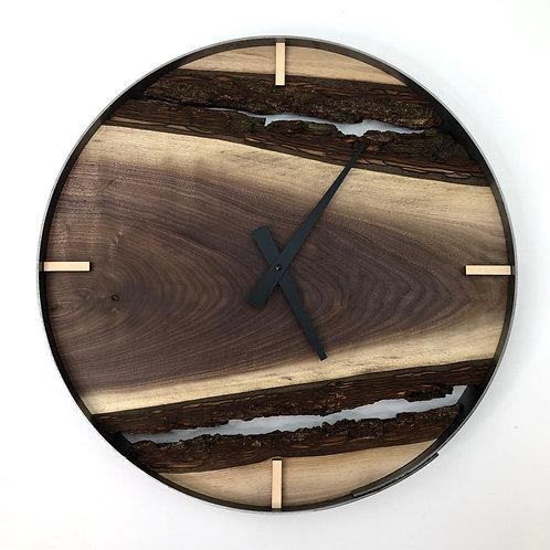 """18"""" Black Walnut Live Edge Wood Clock"""