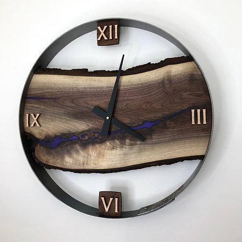 "18"" Black Walnut Live Edge Wood Clock ft. Royal Purple Epoxy Inlay"
