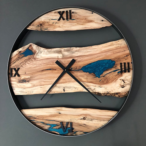 "RESERVED / 34"" Poplar Live Edge Wood Wall Clock ft. Teal Epoxy Inlay"