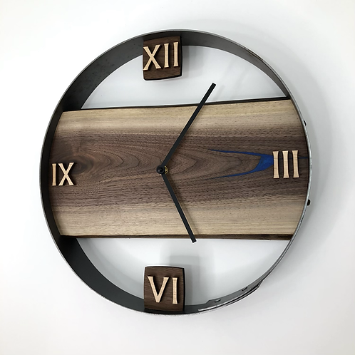 "14"" Black Walnut Live Edge Clock ft. Blue Epoxy Inlay"