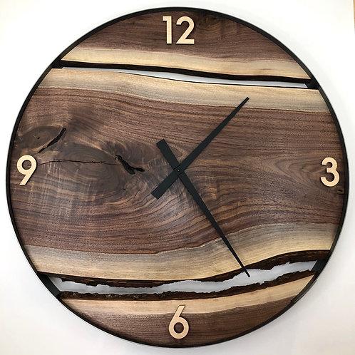 """34"""" Black Walnut Live Edge Wood Clock"""