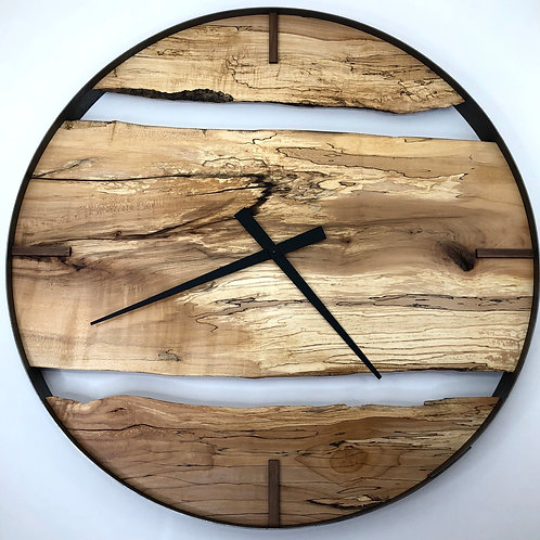 """34"""" Spalted Maple Live Edge Wood Wall Clock"""