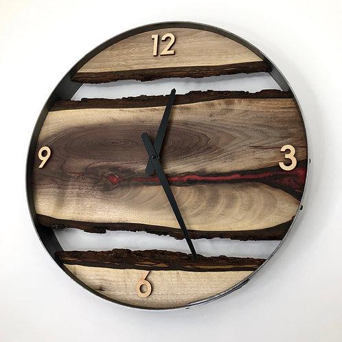 "18"" Black Walnut Triple Live Edge Wood Clock ft. Red Epoxy Inlay"