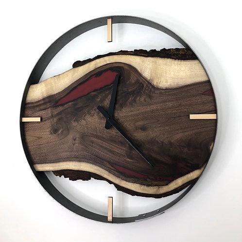 "21"" Black Walnut Clock ft. Metallic Red Epoxy Inlay"