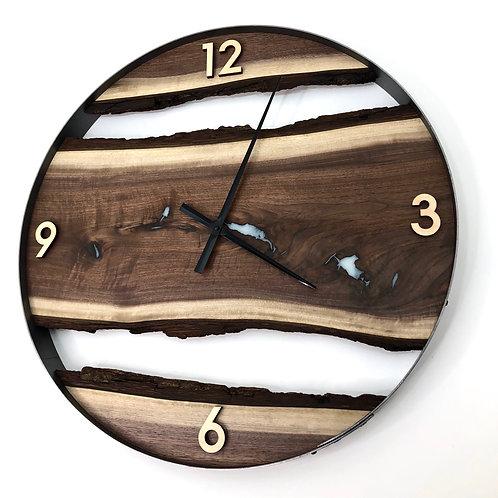 "25"" Black Walnut Live Edge Wood Clock ft. White Inlay"