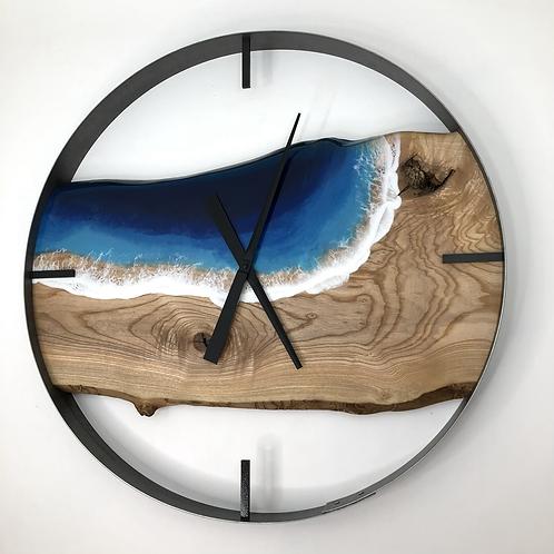 "30"" Ash Life's A Beach Live Edge Wood Clock"