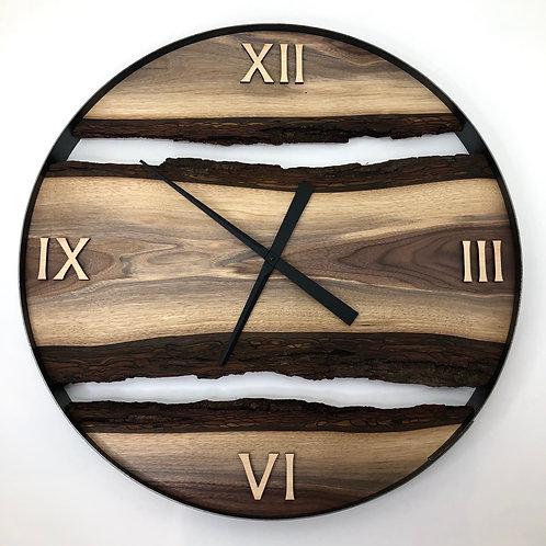 """30"""" Black Walnut Live Edge Wood Wall Clock"""