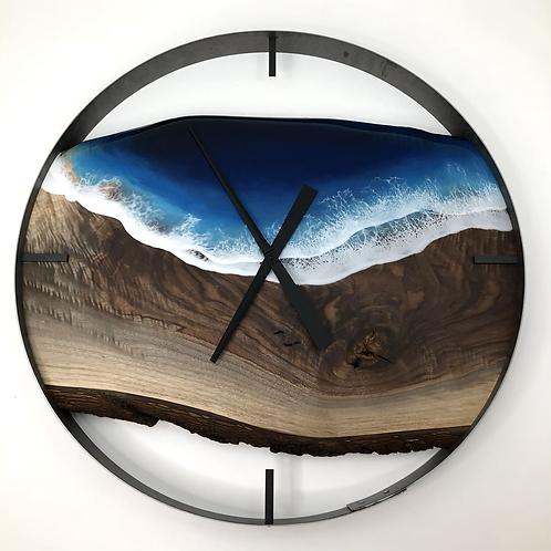 "30"" Black Walnut Life's A Beach Live Edge Wood Clock"