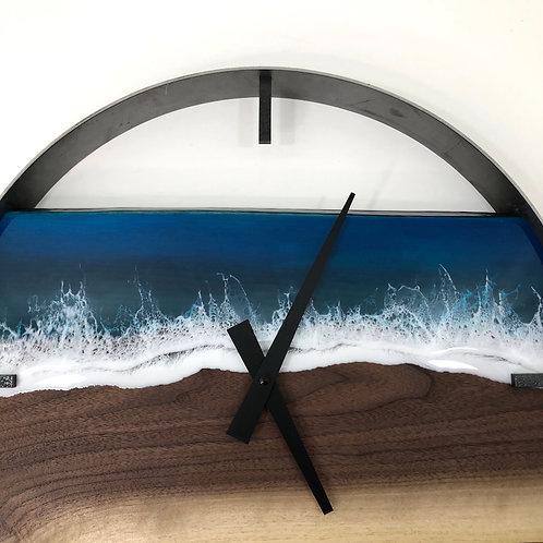 "RESERVED // 18"" Life's a Beach Walnut Wood Wall Clock"