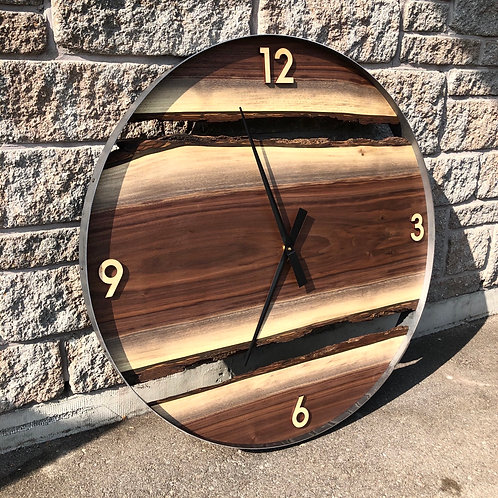 "34"" Black Walnut Live Edge Wood Wall Clock, Large Unique One of a Kind piece"
