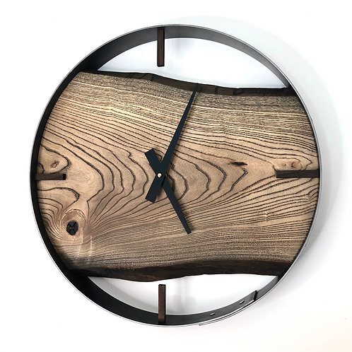 """18"""" Stained Smoky Ash Live Edge Wall Clock"""