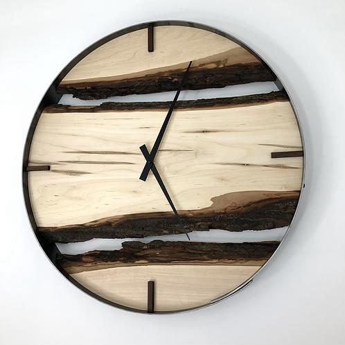 "21"" Maple Live Edge Wood Clock ft. Walnut Bars"