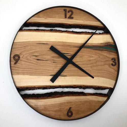"25"" Cherry Live Edge Wood Wall Clock ft. Green Epoxy Inlay"