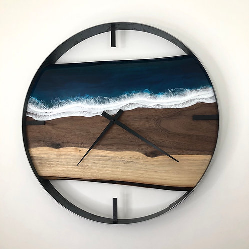 "21"" Life's a Beach Walnut Wood Wall Clock"
