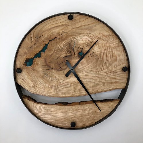 """18"""" Ash Two Piece Live Edge Clock ft. Teal Epoxy Inlay"""