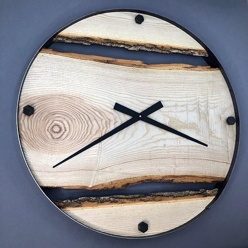 "30"" Ontario Ash Triple Live Edge Wood Clock"