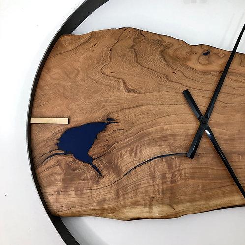 "25"" Cherry Live Edge Wood Clock ft. Blue Epoxy Inlay"