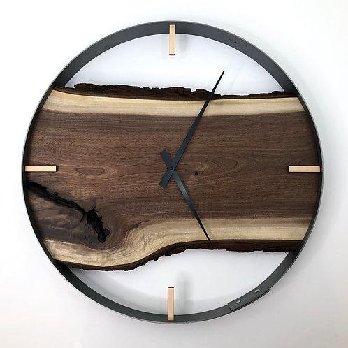 """21"""" Black Walnut Live Edge Wood Wall Clock ft. Bars"""