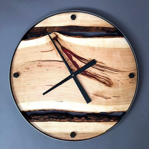"""25"""" Cherry Live Edge clock with Red Resin and Bolts"""