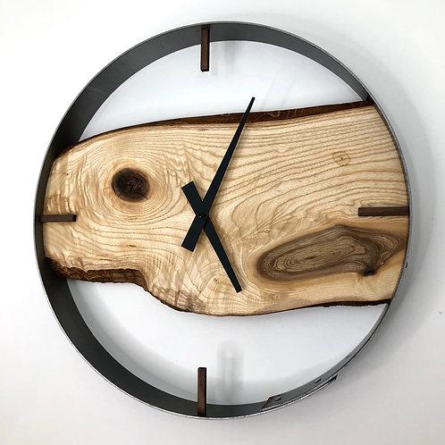"18"" Ash Live Edge Wood Wall Clock"