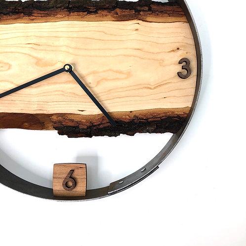 "14"" Cherry Live Edge Wood Clock"