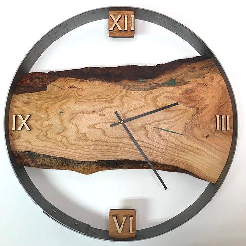 "18"" Cherry Live Edge Wood Clock ft. Green Epoxy Inlay"