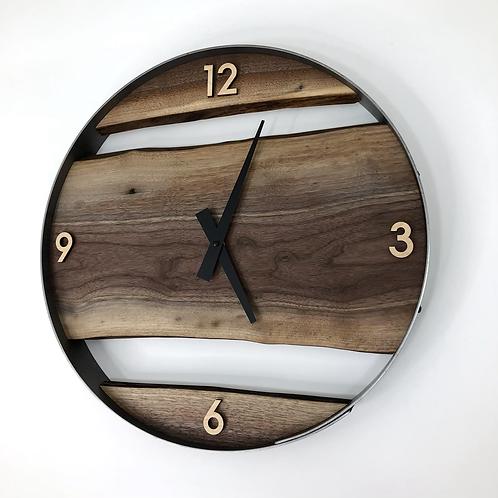 """18"""" Black Walnut Live Edge Wood Wall Clock"""