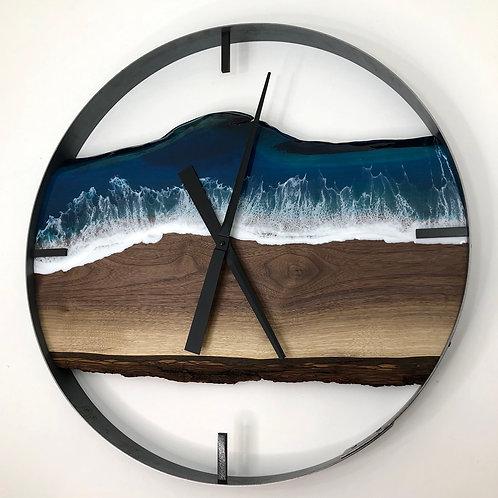 """25"""" Life's a Beach Black Walnut Wood Wall Clock"""