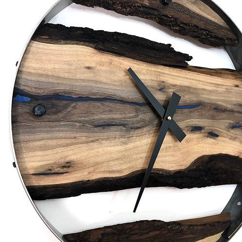 """18"""" Black Walnut Triple Live Edge Wood Clock ft. Blue Epoxy Inlay"""