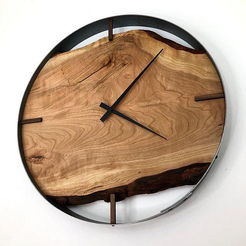 "21"" Cherry Live Edge Wood Wall Clock ft. Bars"
