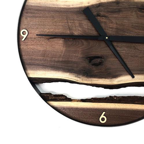 """25"""" Black Walnut Live Edge Wood Clock"""