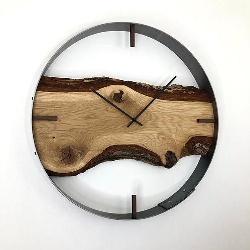 "18"" Oak Live Edge Wood Wall Clock"