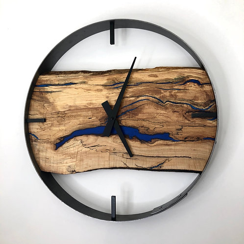 "18"" Spalted Maple Live Edge Wood Clock ft. Blue Epoxy Inlay"