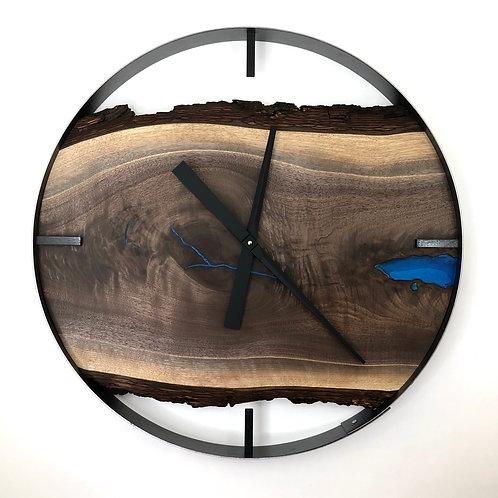 "25"" Black Walnut Live Edge Wood Clock ft. Blue Epoxy Inlay"