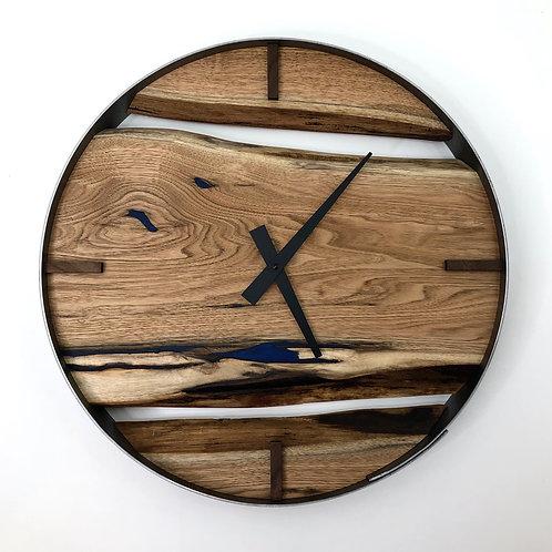 "18"" Butternut Triple Live Edge Wood Clock ft. Blue Epoxy Inlay"
