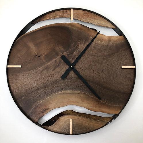 """30"""" Black Walnut Triple Live Edge Wood Wall Clock"""