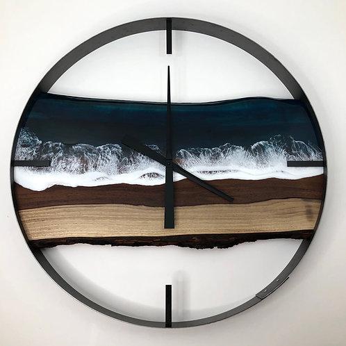 """30"""" Life's a Beach Black Walnut Wood Wall Clock"""
