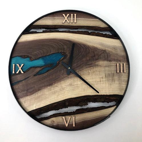 "21"" Black Walnut Live Edge Clock ft. Teal Epoxy Inlay"