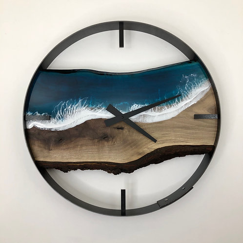 "18"" Life's a Beach Walnut Wood Wall Clock"