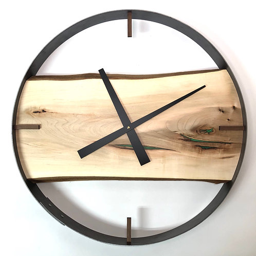"21"" Maple Live Edge Wood Clock ft. Green Epoxy"