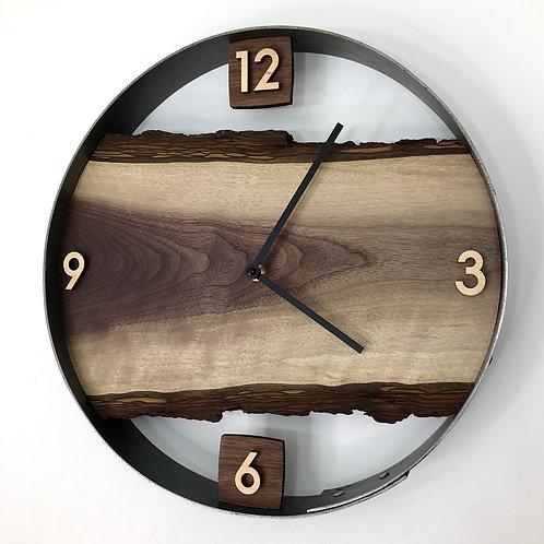 """14"""" Black Walnut Live Edge Wood Wall Clock"""