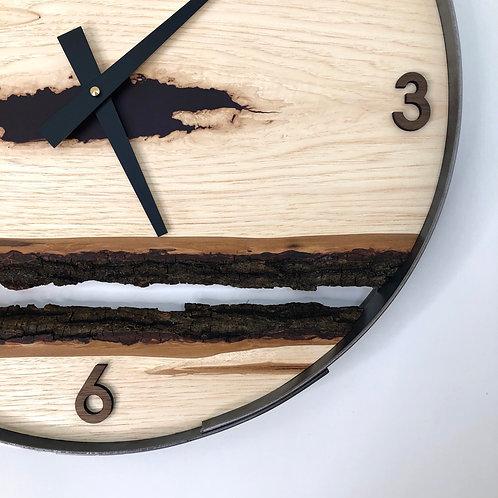 "18"" Maple Triple Live Edge Wood Clock ft. Deep Purple Epoxy Inlay"