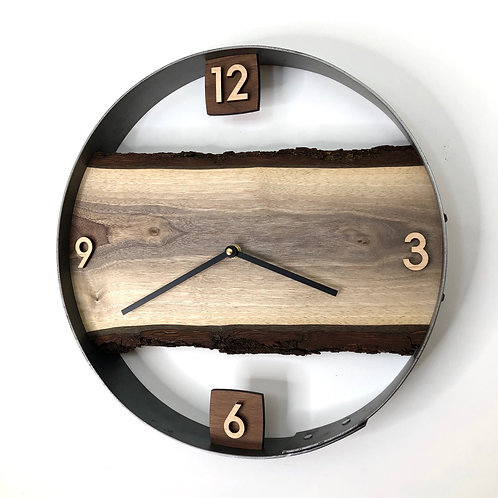 "14"" Black Walnut Live Edge Wood Clock"