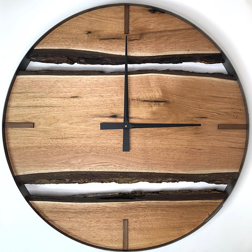 "34"" Butternut Live Edge Wood Wall Clock"